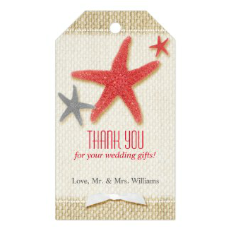 Red and gray starfish burlap wedding thank you tags
