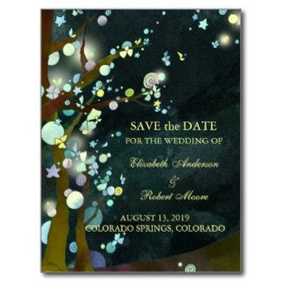 Rustic tree wedding save the date postcard