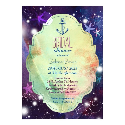 Starfish and anchor glittery nautical bridal shower invitation