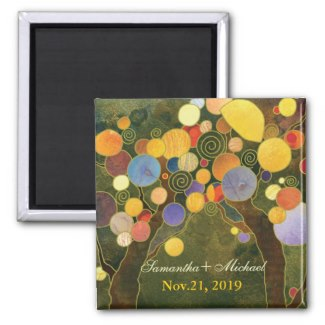 Love Trees olive green wedding save the date magnet