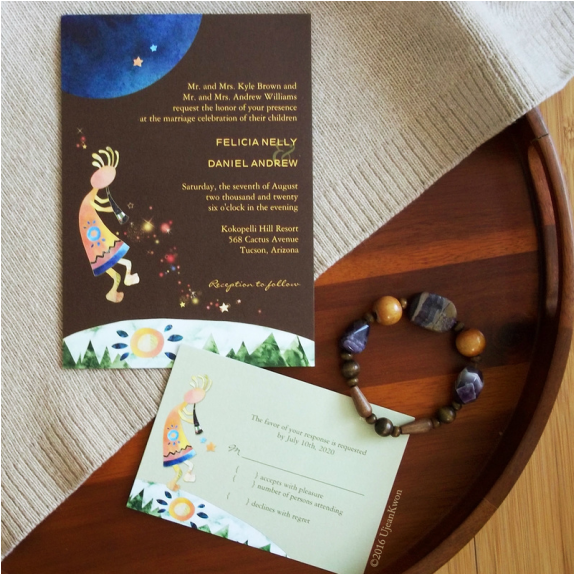Rustic Kokopelli Wedding Invitation and RSVP Card
