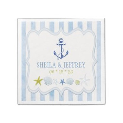 Pastel blue stripes and anchor nautical wedding napkins