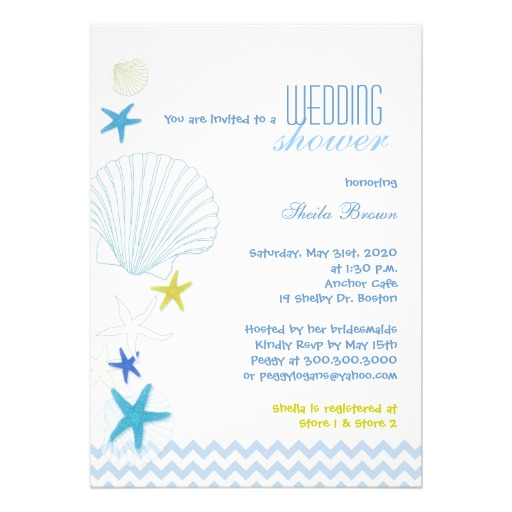 Starfish sea shell and ocean wave wedding shower invitation