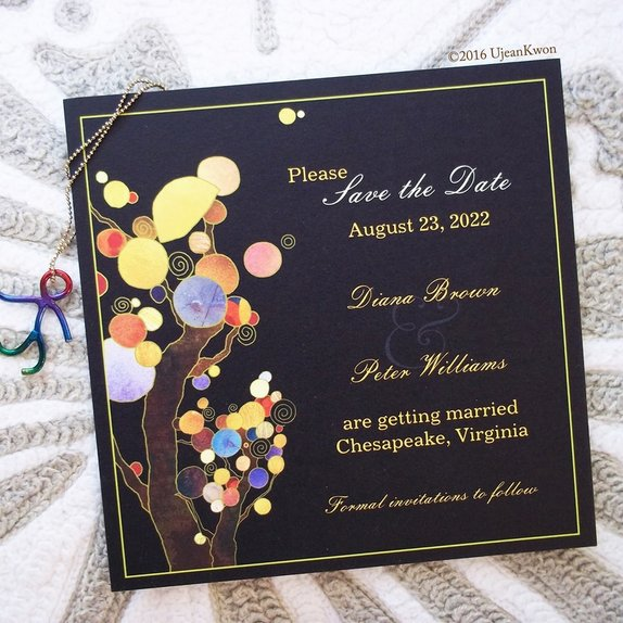 Bohemian style trees wedding save the date invitation