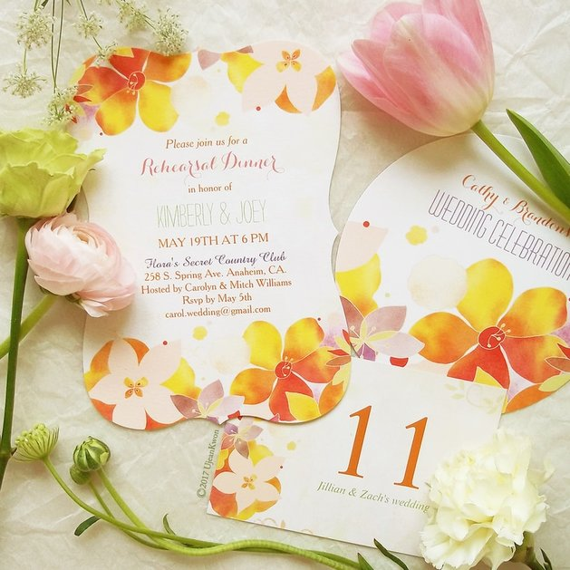 Colorful watercolor floral wedding invitations