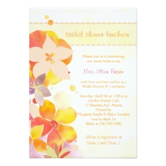 Colorful watercolor flowers bridal shower luncheon invitation