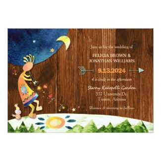 brown wood grain kokopelli wedding invitation