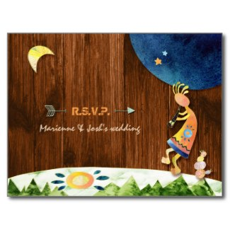 wood texture kokopelli wedding rsvp